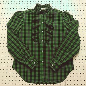 Levi Strauss Plaid Top with Ruffle Detail